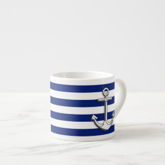Chrome Anchor on Navy Stripes Espresso Cup