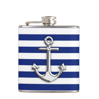 Chrome Anchor on Navy Stripes Flask