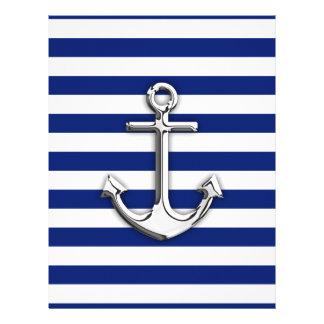 "Chrome Anchor on Navy Stripes 8.5"" X 11"" Flyer"