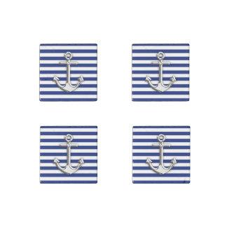 Chrome Anchor on Navy Stripes Stone Magnet