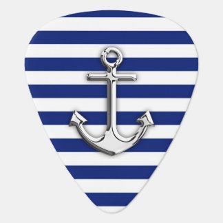 Chrome Anchor on Navy Stripes Guitar Pick