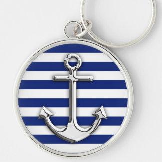 Chrome Anchor on Navy Stripes Key Chains