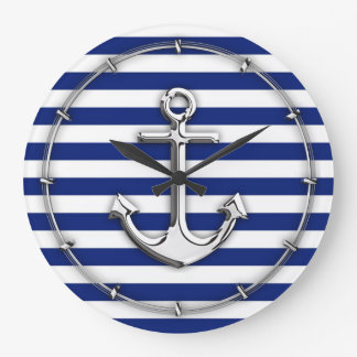 Chrome Anchor on Navy Stripes Large Clock