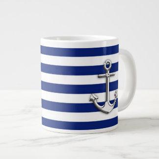 Chrome Anchor on Navy Stripes Large Coffee Mug