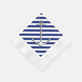 Chrome Anchor on Navy Stripes Paper Napkin