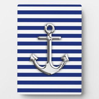 Chrome Anchor on Navy Stripes Plaque