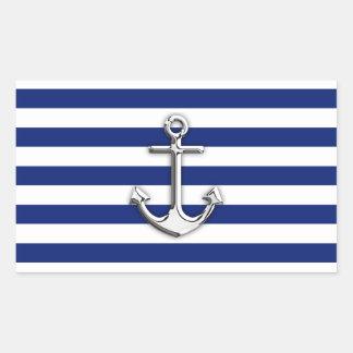 Chrome Anchor on Navy Stripes Rectangular Sticker