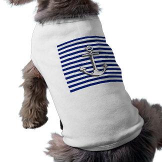 Chrome Anchor on Navy Stripes Shirt