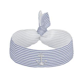 Chrome Anchor on Navy Stripes Elastic Hair Ties