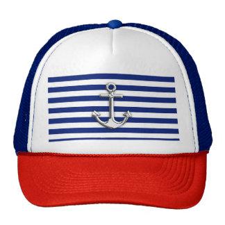 Chrome Anchor on Navy Stripes Trucker Hat