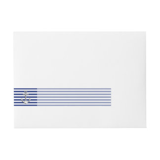 Chrome Anchor on Navy Stripes Wrap Around Address Label