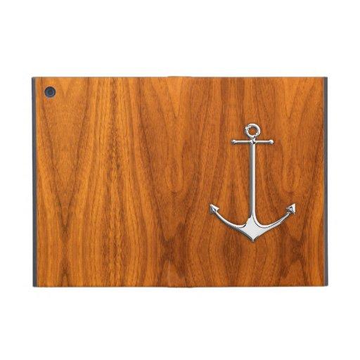 Chrome Anchor on Teak Veneer Nautical Lifestyle Cover For iPad Mini