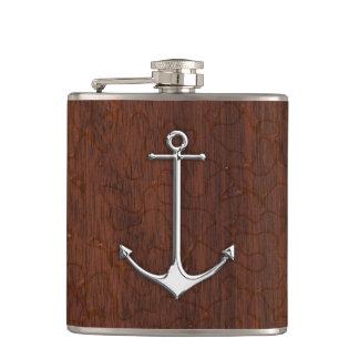 Chrome Anchor on Wet Mahogany Print Hip Flask