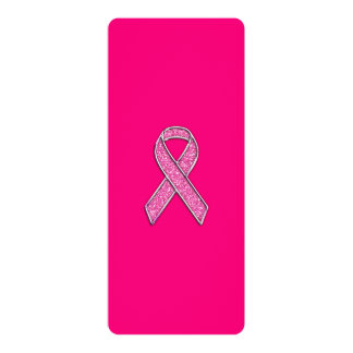 Chrome and Glitter Style Pink Ribbon Awareness 4x9.25 Paper Invitation Card
