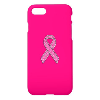 Chrome and Glitter Style Pink Ribbon Awareness iPhone 7 Case