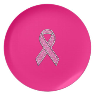 Chrome and Glitter Style Pink Ribbon Awareness Dinner Plate