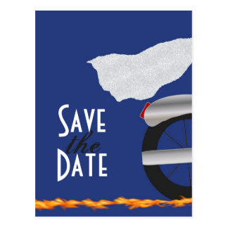 Chrome and Lace Biker Save the Date Postcard