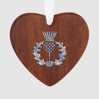 Chrome and Mahogany Wood Scottish Thistle Print