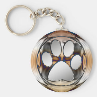 CHROME AND SILVER PAW PRINT BASIC ROUND BUTTON KEYCHAIN