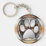 CHROME AND SILVER PAW PRINT KEY CHAINS