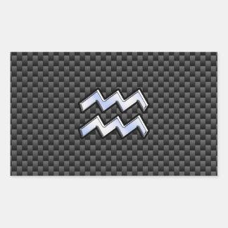 Chrome Aquarius Zodiac Sign Carbon Fiber Styles Rectangular Sticker