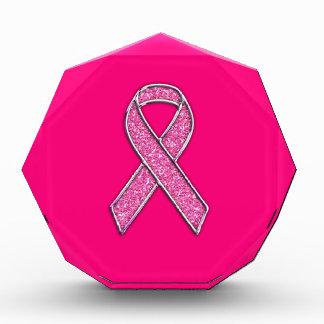 Chrome Belted Glitter Style Pink Ribbon Awareness Acrylic Award