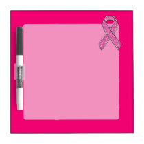 Chrome Belted Glitter Style Pink Ribbon Awareness Dry-Erase Board