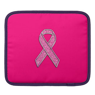 Chrome Belted Glitter Style Pink Ribbon Awareness iPad Sleeve