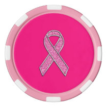 Chrome Belted Glitter Style Pink Ribbon Awareness Set Of Poker Chips