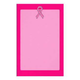 Chrome Belted Glitter Style Pink Ribbon Awareness Stationery