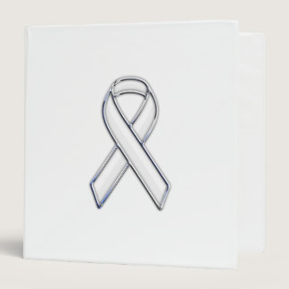 Chrome Belted Style White Ribbon Awareness 3 Ring Binder