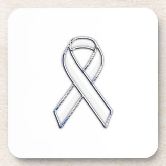 Chrome Belted Style White Ribbon Awareness Drink Coaster