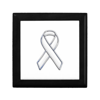 Chrome Belted Style White Ribbon Awareness Gift Box