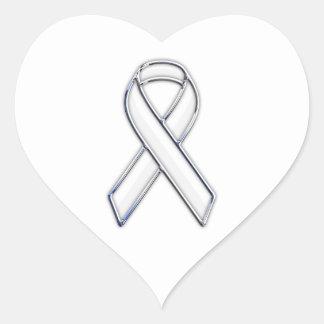 Chrome Belted Style White Ribbon Awareness Heart Sticker