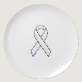 Chrome Belted Style White Ribbon Awareness Melamine Plate