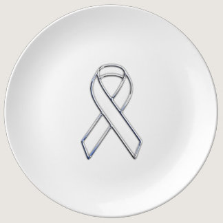 Chrome Belted Style White Ribbon Awareness Plate