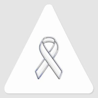 Chrome Belted Style White Ribbon Awareness Triangle Sticker