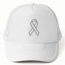 Chrome Belted Style White Ribbon Awareness Trucker Hat