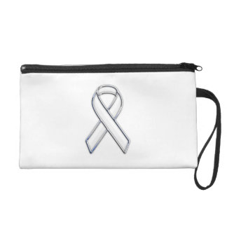 Chrome Belted Style White Ribbon Awareness Wristlet Purse