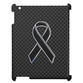 Chrome Black Ribbon Awareness Carbon Fiber Cover For The iPad 2 3 4