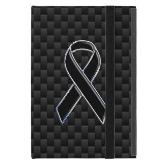 Chrome Black Ribbon Awareness Carbon Fiber iPad Mini Case