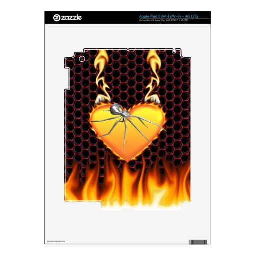 Chrome black widow design 1 with fire skin for iPad 3