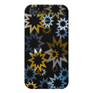 Chrome Blue and Gold Stars Cases For iPhone 4