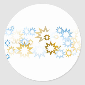 Chrome Blue and Gold Stars Classic Round Sticker