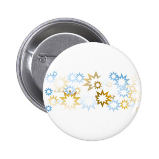 Chrome Blue and Gold Stars Pinback Button