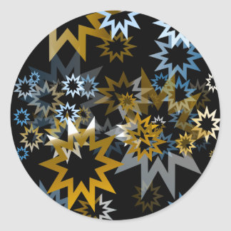 Chrome Blue and Gold Stars Round Sticker