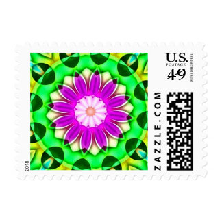 Chrome Bright Violet Petals Daisy Kaleidoscope Postage