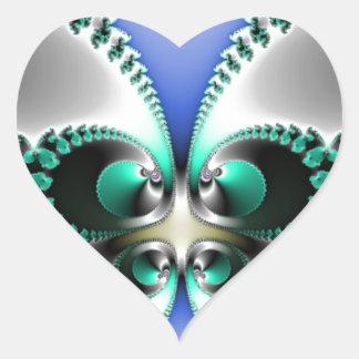 Chrome Butterfly Heart Sticker