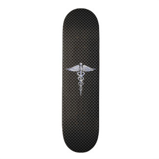 Chrome Caduceus Medical Symbol Black Carbon Fiber Skateboard Deck