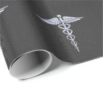 Chrome Caduceus Medical Symbol Carbon Fiber Decor Wrapping Paper